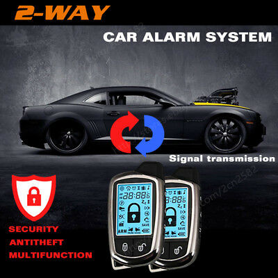 2 Way Car Alarm Security System With LCD Super Long Distance Control Anti-theft