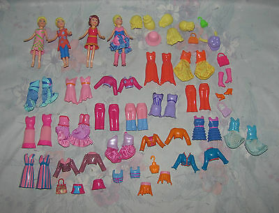 Polly Pocket Magnetic Lot - 4 Dolls, Magnetic Clothes & Hair- Hard Plastic