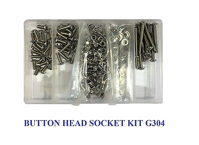 Qty 270 Button Head Socket Screw Kit M5 Stainless Steel Nut Washer Bolt 304