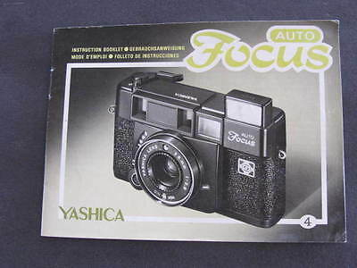 Yashica Auto Focus Camera Insruction Booklet