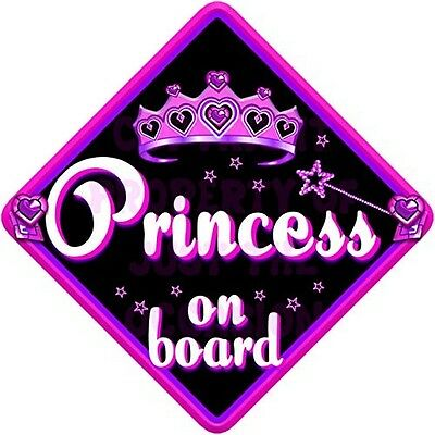 MIDNIGHT JEWEL PRINCESS Baby on Board Car Window Sign. Delivery is Free