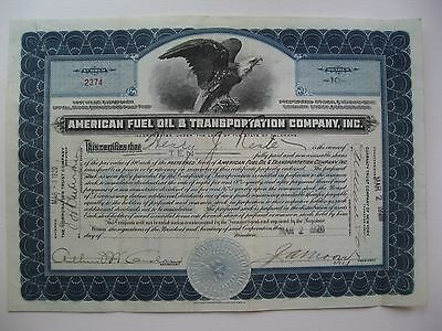 Vintage Stock Certificate American Fuel Oil & Transportation Company 1928