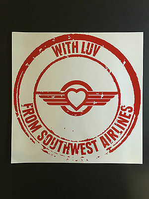 """Southwest Airlines SWA """"With LUV From Southwest Airlines"""" large decal"""