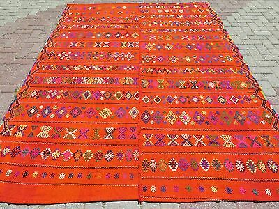 "Turkish Wool Orange Rug,Vintage Antalya Kilim 77,9""x107,8""Area Rug,Kelim,Carpet"