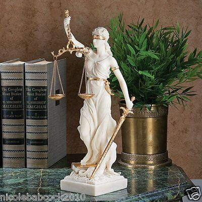 """13"""" Ancient Greek Goddess Of Justice Blind Faith Bonded Marble Sculpture • CAD $188.99"""