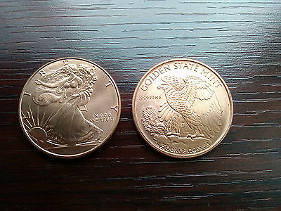 2 x 1/2 oz Copper Coin - Walking Liberty - Golden State Mint