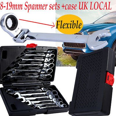 Bulk 12pcs Flexible Combination Spanners Ratchet Wrench Tool Set Kit 8-19mm New