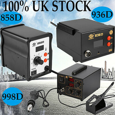 SMD Hot Air Gun Soldering Work Station 936 858D 998D UK Plug 220V Top Quality AA