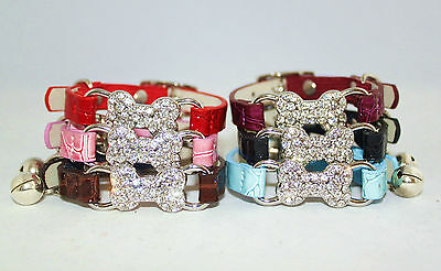 Cat Collar Kitten Diamante Safety Elastic Bell Leather Pink Black Brown Bling