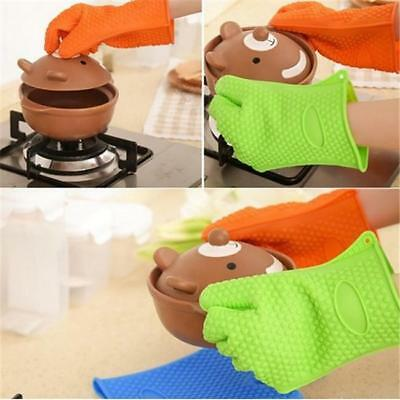 1 Pcs Kitchen Oven Glove Heat Resistant Silicone Holder Baking Cook Mitts T