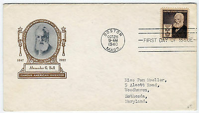 USA FDC Boston Mass. 1940 Cachet Alexander G. Bell First Day Bethesda (TB-2628)