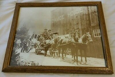Western black and white Photo of men on coach behind horses   Csk
