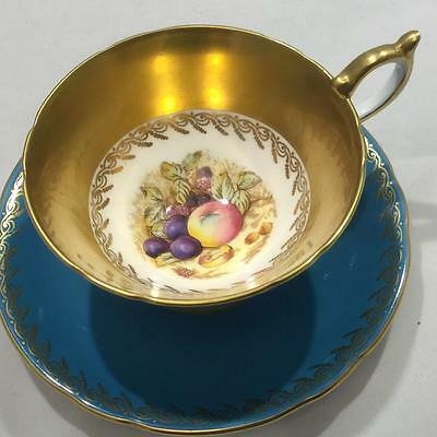 Stunning Vintage 1950's Aynsley Turquoise  Signed D. Jones Cup and Saucer