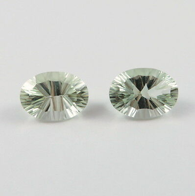 Tucson Arizona Gem Show Green Amethyst Quartz Oval Shaped Pair 14 x 10 mm 5.50ct
