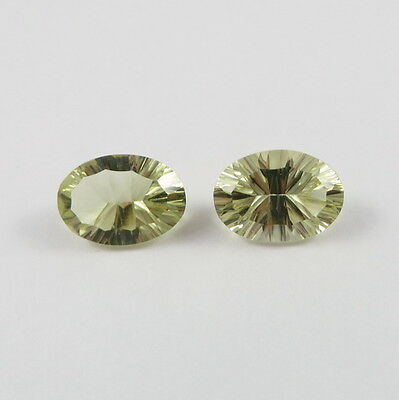 Tucson Arizona Gem Show Oval Lime Quartz Gemstone Pair 5 ct 14 x 10 mm