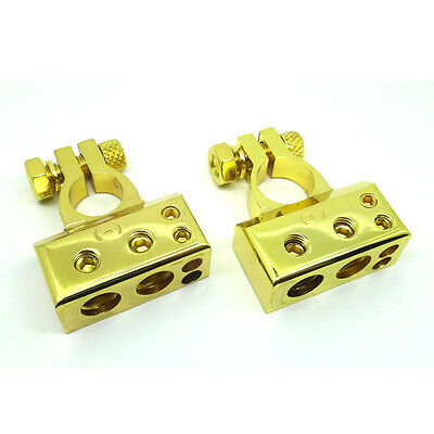 Heavy Duty Battery Terminals High End Gold Terminal Connectors Positive Negative