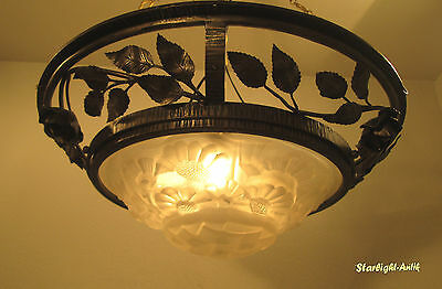 Wonderful Large French Art Deco Ceiling Lamp / Plafonnier 1925 - Signed: Degue