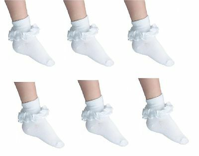 12 Pairs GIRLS  SCHOOL COTTON LACE SOCKS FRILLY LACE ANKLE SOCKS