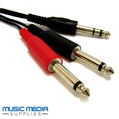 "6.35mm 1/4"" Jack Audio Insert Cable Y Lead Stereo Plug to 2 x Mono Plugs - 2m"