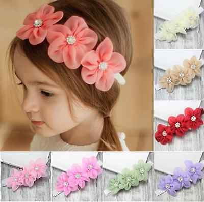 Baby Girl  Kids Toddler Chiffon Flower Crystal Headband Hair Band Accessories