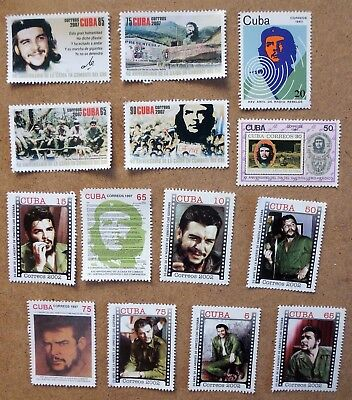 STAMPS CARIBE, MINT CHE GUEVARA LOT OF 16 STAMPS SELLOS FRANCOBOLLI new