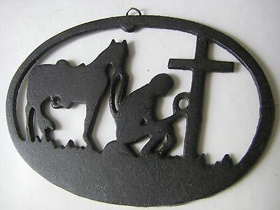 Cast Iron Kneeling Cowboy With Horse  Plaque