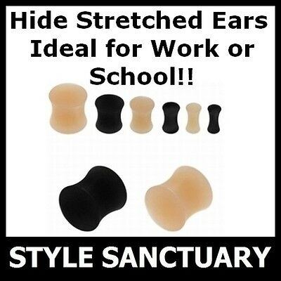 HIDE STRETCHED EARLOBES! Silicone Flesh Plug Ear Lobe Tunnel Retainer Stretcher