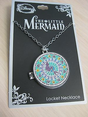 Disney The Little Mermaid Ariel Locket Stained Glass Necklace 34""