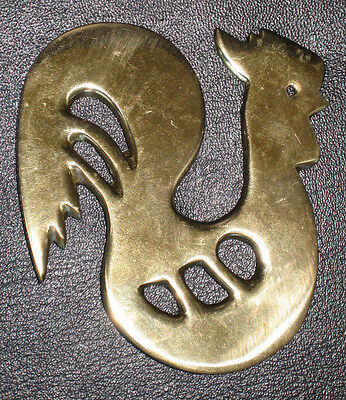 Vtg Solid Brass Chicken Rooster Drawer Pull Knob Hook Decor Retro