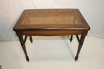 antique french country  mahogany  cane piano stool vanity bench