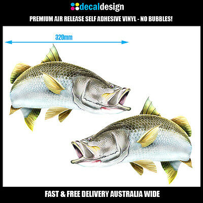 Barramundi Decals x 2 - 32cm Mirrored Pair Barra Fishing Stickers boat graphics