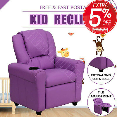 Premium Kid Children Leather Recliner Lounge Chair Sofa With Drink Holder Purple