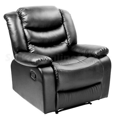 Brand New Luxury PU Leather Recliner Chair - Black