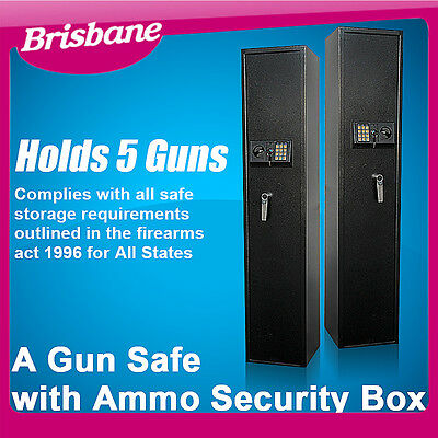 **QLD PICKUP** 5 Guns Heavy Duty Rifle Storage Locker with Ammo Box