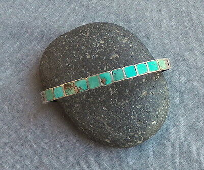 Vintage Native American Silver Square Turquoise Row Stamped Cuff Bracelet