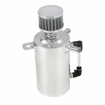 0.5L Aluminum OIL Catch Can Breather Tank Reservoir W/BLACK STAINLESS FILTER