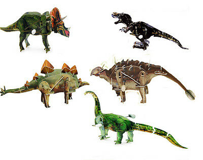 Wind Up Dinosaur Toys Walking 3D Puzzles Gift Pack x 5 Dinos NSW Australia NEW