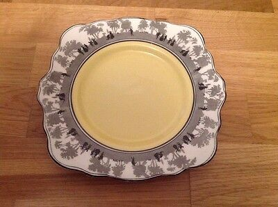 Art Deco Cake Plate Produced by E. B. & Co. Foley China Silhouette Pattern c1923