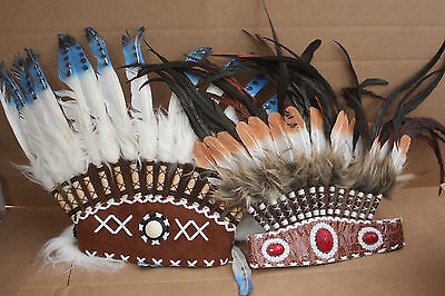 2 x Indian Native American Costume Hat Feather