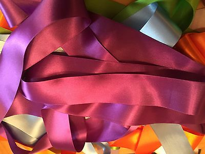 """Assorted Colours of 12mm 1//2/"""" Satin Ribbon Off Cuts Bundle 50 metres 50 x 1 m"""