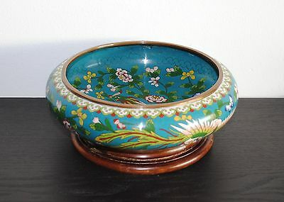 ANTIQUE 19th CENTURY CHINESE CLOISONNE BOWL TONGZHI MARK with WOODEN STAND