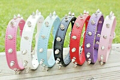Dog Collars Spiked Spikey Studded Puppy Coller For Small Medium Large PU Leather