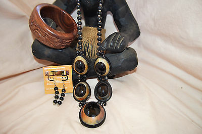Necklace Set Horn Beaded with Hand Carved Wooden Bracelet Bangle   #785