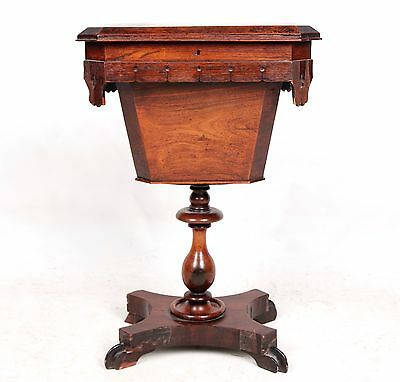 Antique Work Table Sewing Table Victorian Column Lamp Table 19th Century Mahogan
