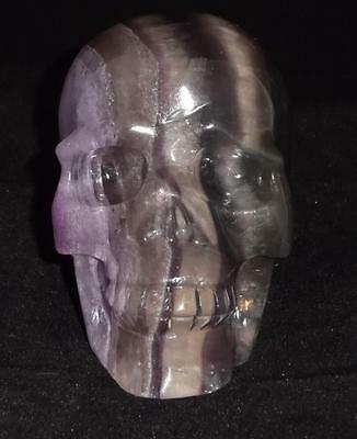 Purple Fluorite Carved Crystal Skull Realistic Free Shipping USA Seller