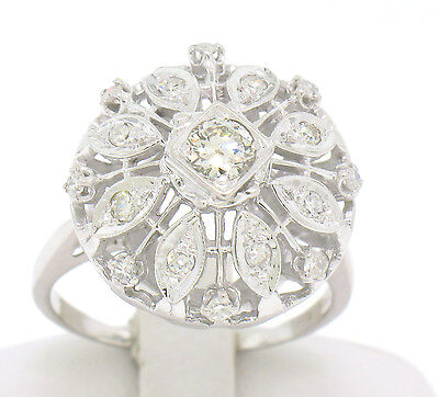 Vintage 14k Solid White Gold Domed Cocktail Ring w/ 17 Round White Diamonds