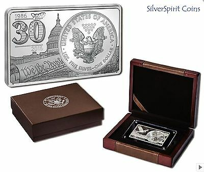 2016 AMERICAN EAGLE 30th ANNIVERSARY SILVER INGOT & COIN 3oz Silver Set