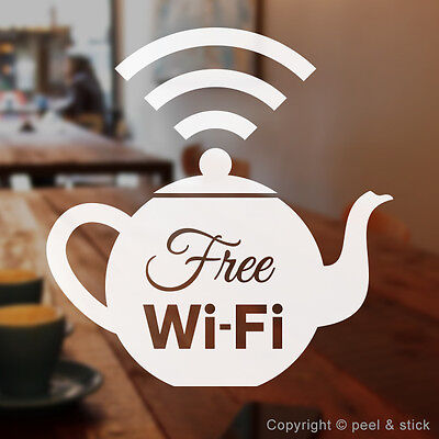 Free WiFi Stickers Tea Coffee Cup Wi-Fi Sign Decal Window Shop Cafe Restaurant