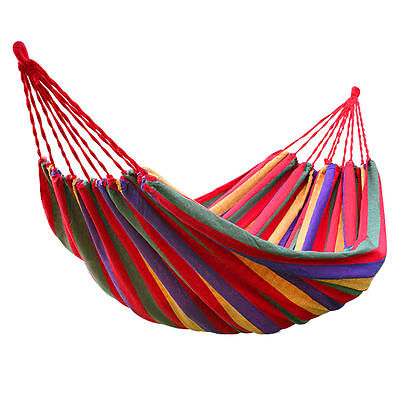 Hanging Hammock Portable Cotton Swing Fabric Rope Outdoor Camping Travel Bed New