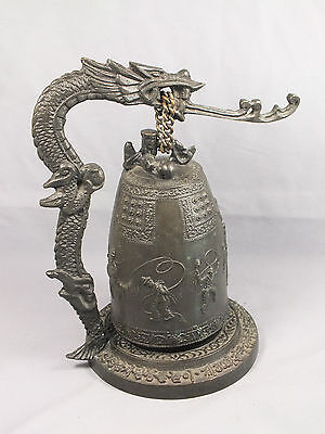 Vintage Asian Chinese Cast Iron & Brass Swinging DRAGON BELL